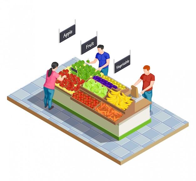 Voedselmarkt isometrische samenstelling