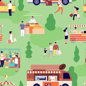 Voedselmarkt patroon. mensen kopen landbouwproducten, toonbanken met ambachtelijke producten. zomer buiten feestelijke activiteit achtergrond. straat winkel vector naadloze patroon. openluchtverkooppark, illustratievoedselstraat