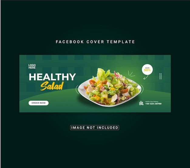 Voedselmenu en gezonde salade facebook omslagbannersjabloon