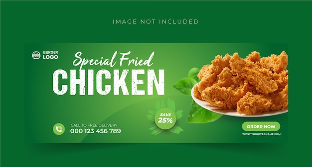 Voedselmenu en restaurant facebook cover bannerontwerp premium vector