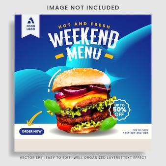 Voedselmenu en restaurantburger sociale media postsjabloon