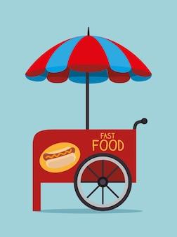Voedselontwerp over blauwe vectorillustratie als achtergrond