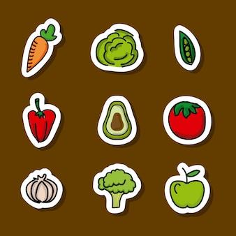 Voedselontwerp over bruine vectorillustratie als achtergrond