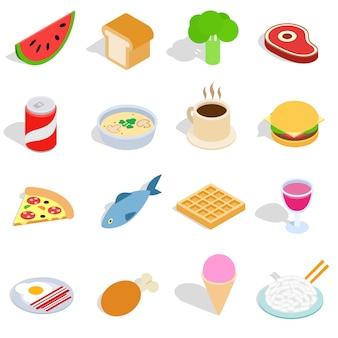 Voedselpictogrammen in isometrische die 3d stijl worden op witte achtergrond worden geïsoleerd geplaatst die