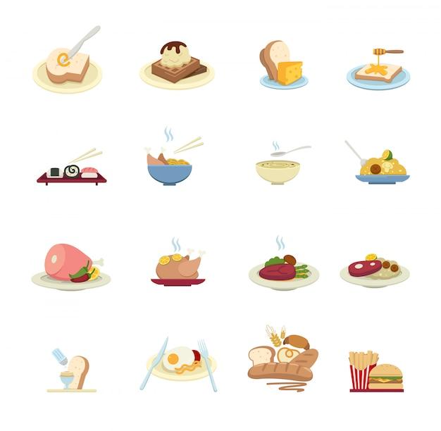 Voedselpictogrammen op witte achtergrond worden geïsoleerd die