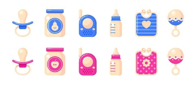 Voedselpot babyfopspeen melkfles babyfoon rammelaar en slabbetje set van vectorillustraties