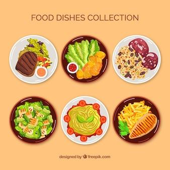Voedselschotelverzameling bovenaanzicht