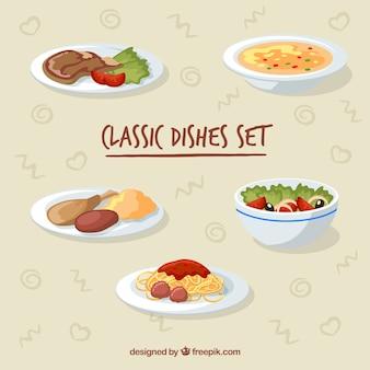 Voedselschotelverzameling met plat deisgn