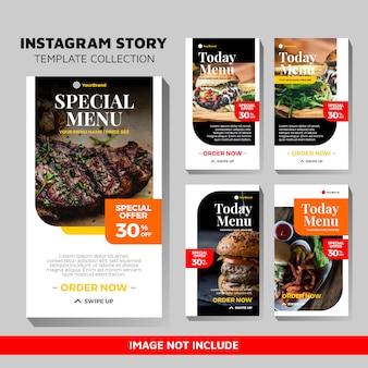 Voedselsjablonen voor instagram-verhalen