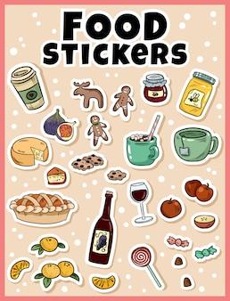 Voedselsticker in beeldverhaal grappige stijl die wordt geplaatst