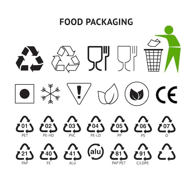 Voedselverpakkingssymbolen instellen harspictogrammen plastic verpakkingspakket ondertekenen europese conformiteitshandboek algemene symbolen.