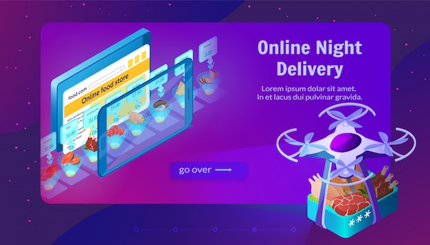 Voedselverzending door dron online night delivery.