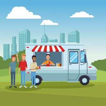 Voedselvrachtwagen bij park