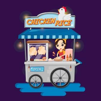 Voedselvrachtwagen thaise kippenrijst. de vrouw hakt kip voor kippenrijst op voedselvrachtwagen.