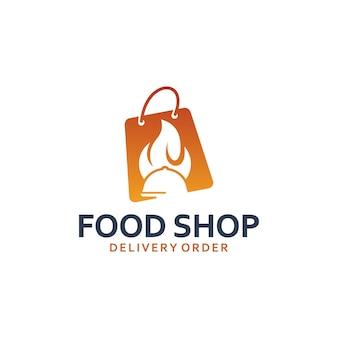 Voedselwinkel, papieren zak, inspiratie voor logo-ontwerp