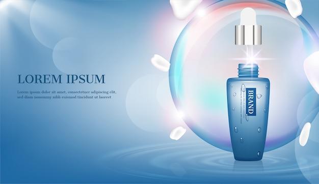 Voedzaam serum met grote bubbel en schijnend licht op het wateroppervlak