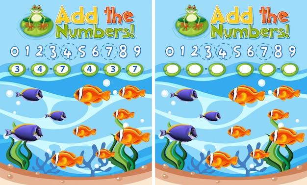 Voeg de nummers onderwaterrif toe