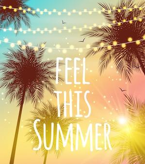 Voel deze zomer natuurlijke palm achtergrond