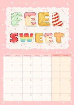 Voel zoete schattige kleurrijke maandelijkse kalender met ijs elementen.