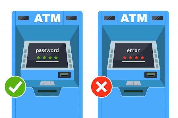 Voer het juiste en onjuiste wachtwoord in bij de geldautomaat. platte vectorillustratie.