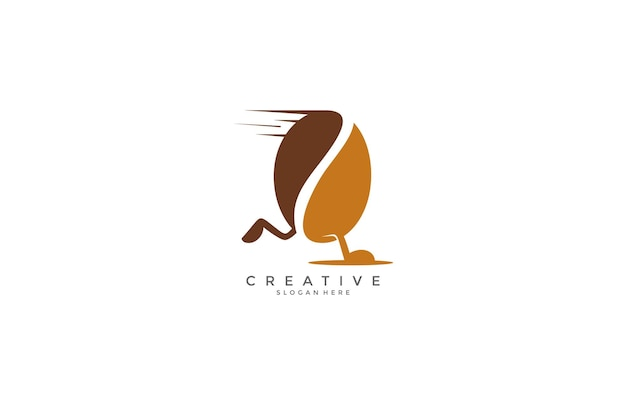 Voer koffieboon modern logo-ontwerp uit