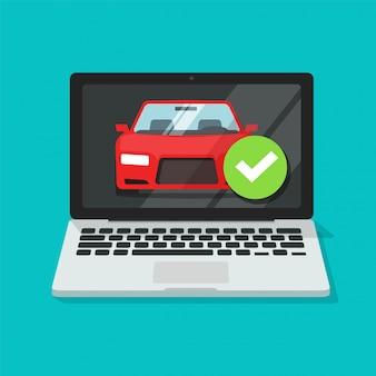 Voertuig auto online verzekering contract polisdocument op laptopcomputer met goedgekeurde vinkje beveiliging