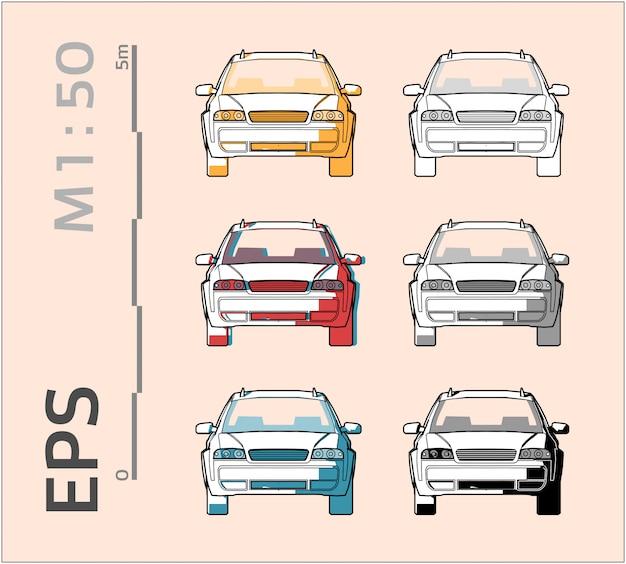 Voertuig auto tekening ingesteld op verschillende kleuren, vooraanzicht