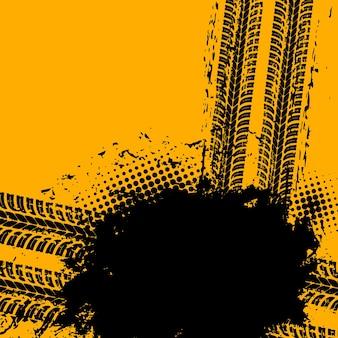 Voertuig band rubber loopvlakken grunge vector achtergrond. markeringen van autobandbeschermers, vuile sporen van vrachtwagenwielen of zwarte wielsporen. transportindustrie, race-achtergrond met moddervlek, bandensporen