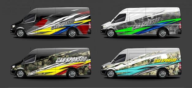 Voertuig grafische kit vector. moderne abstracte achtergrond voor auto wrap branding en auto sticker decals livery
