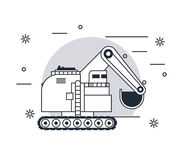 Voertuig met hydraulische graafmachine