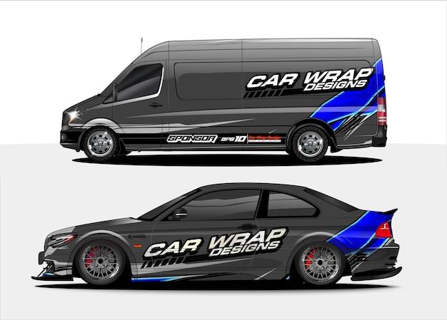 Voertuig sticker concept voor racewagen