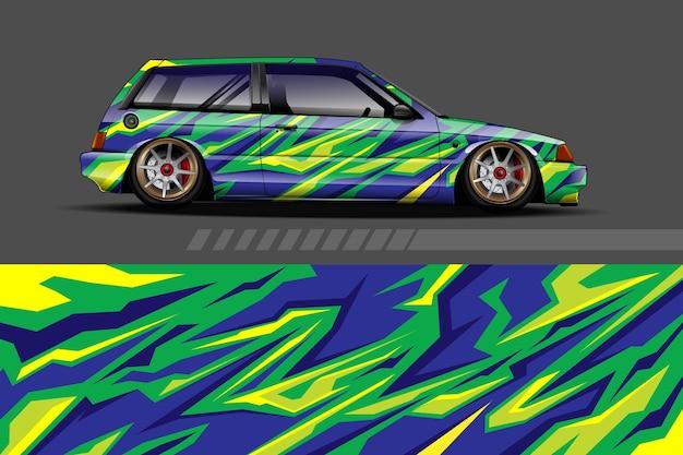 Voertuig wrap en vinyl sticker ontwerp met abstracte achtergrond racen