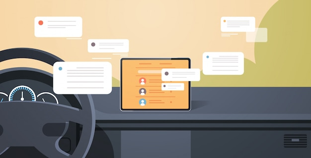 Voertuigcockpit met slimme rijhulp sociale netwerkcommunicatie chatten messaging chat-app op auto computer board scherm moderne auto-interieur