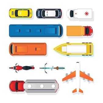 Voertuigen, auto's en transport in boven- of bovenaanzicht