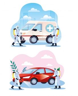 Voertuigen desinfecterende diensten voor covid 19 ziekte illustratieontwerp