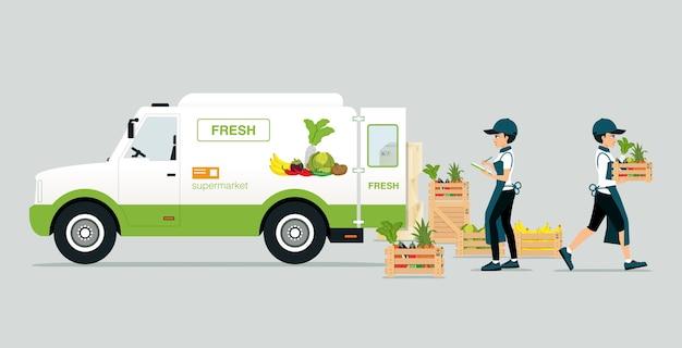 Voertuigen die groenten en fruit vervoeren met product voor werknemerscontrole