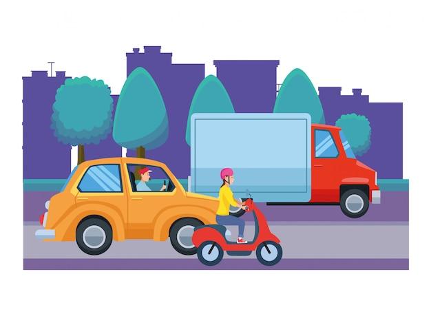 Voertuigen en motor met chauffeurs rijden