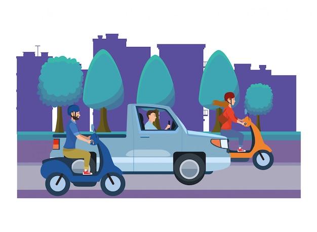 Voertuigen en motorfietsen met chauffeurs rijden
