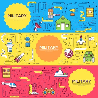 Voertuigen op militaire basissjabloon van flyer