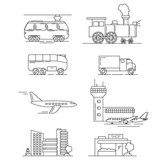 Voertuigen stoomlocomotief, vrachtwagen, tram, vliegtuig en luchthaven, stadswinkel.