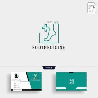 Voet enkel geneeskunde logo sjabloon met visitekaartje