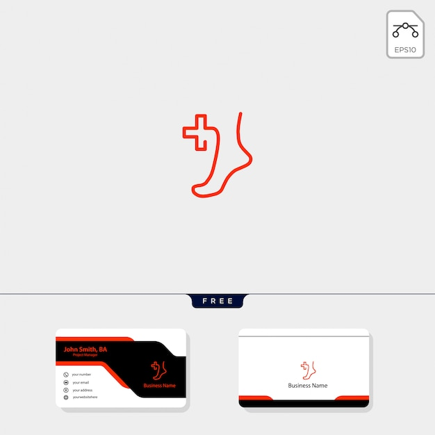 Voet medische logo sjabloon, krijg gratis visitekaartje ontwerp