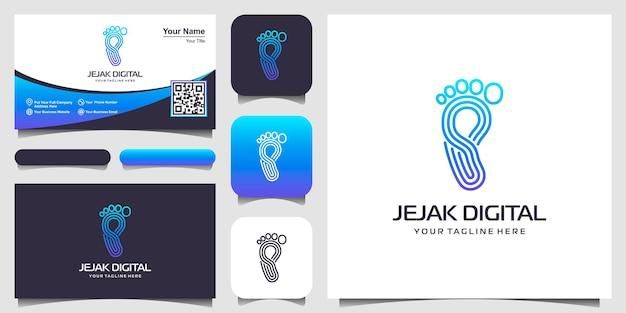 Voetafdruk digitaal logo moderne technologie bedrijf, eenvoudig minimalistisch pictogramontwerp.