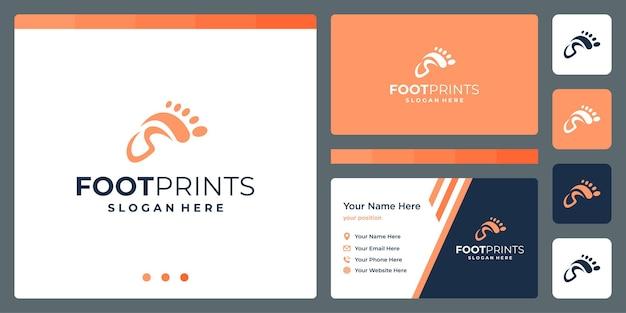 Voetafdrukken abstract logo met initialen letter s en ontwerpsjabloon voor visitekaartjes.