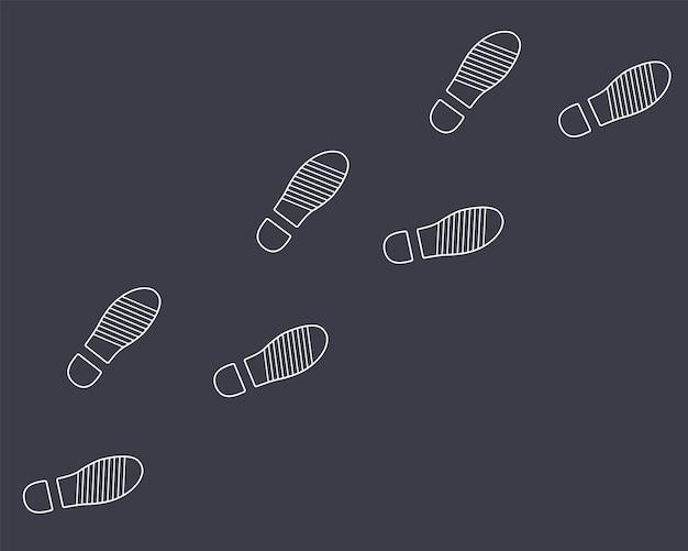 Voetafdrukken van de schoenen van een man op een zwarte achtergrond. platte vectorillustratie.