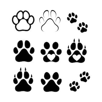 Voetafdrukken van honden of katten. vector geïsoleerd silhouet.