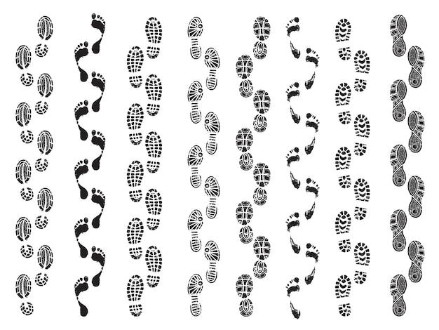 Voetafdrukken vormen. bewegingsrichting van menselijke schoenenlaarzen die voetafdrukken vectorsilhouetten lopen