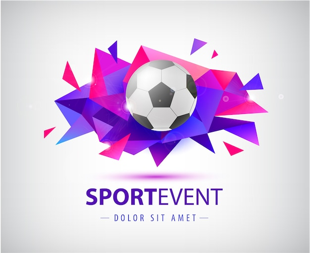 Voetbal abstract sjabloon voor voetbalomslagen, spandoeken, sportborden, posters en flyers met bal. facet geometrische vorm geïsoleerd.