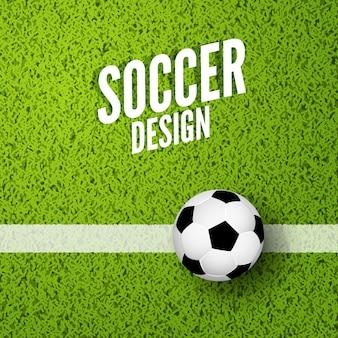 Voetbal achtergrond witn groen gras. voetbal sport achtergrond