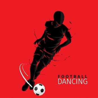 Voetbal bal poseren donkere vlam silhouet